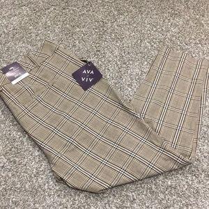 Ava & Viv Mid-Rise Ankle Plaid Comfort Waist Pants